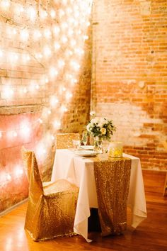 Gold Sequined Chair Covers and Table Runner | Heather Jowett Photography https://www.theknot.com/marketplace/heather-jowett-photography-ann-arbor-mi-590327 | Zingerman's | PassionFlower