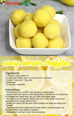 Looking for a fresh and easy dessert? Try these lemon truffles. Mini Desserts, Easy Desserts, Lemon Truffles, Lemon Cake Mixes, Rocky Road, Lemon Recipes, Breads, Sweet Treats, Anna Olson