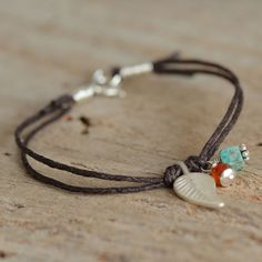 Cotton Cord Charm Bracelet Hill Tribe Silver by figgylanejewelry
