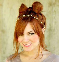 casual bow bun updo for long hair
