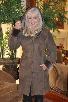 Smoky Mountain Hooded Spanish Merino Shearling Coat http://www ...