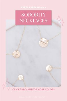 Sorority circle necklaces are the easiest gift for any celebration: Recruitment, Bid Day, Back to School & Big/Little. Spoil your new sorority girl with our simple and dainty Greek letter circle necklace! Kappa Kappa Gamma Gifts | Kappa Kappa Gamma Bid Day | KKG Necklace | Kappa Kappa Gamma Jewelry | Sorority Bid Day | Sorority Recruitment | Sorority Jewelry Gifts | Sorority College Gift | Sorority New Member Gift Ideas | Dainty Jewelry | Simple Gold Necklace #SororityGifts #SororityJewelry