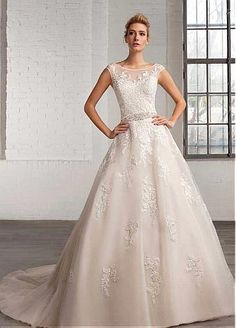 Marvelous Tulle Bateau Neckline A-line Wedding Dresses with Beaded Lace Appliques