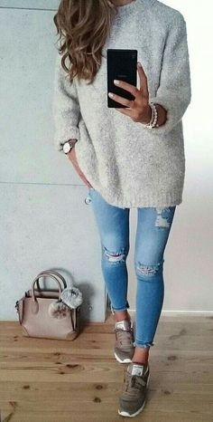 This looks so cozy. Grey is a favorite - like the idea of some cute sneakers with jeggings and an oversized sweater.