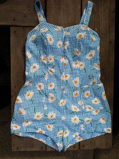 VTG 50s Pin Up Swimsuit plaid with daisies by ThisaThatVintage, $52.00