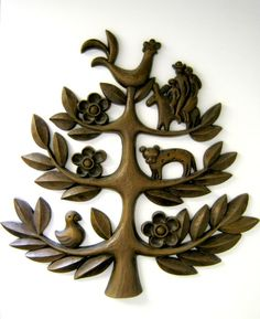 60's Homco Folk Art Tree of Life Wall Hanging single plaque
