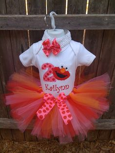 Pink Orange & Red ELMO  birthday tutu set by robellaboutique, $40.00