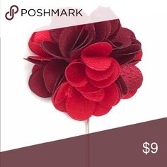 "New Men's Wine & Cherry Red Satin Flower Lapel Pin New Men's Wine and Cherry Red Satin Flower Lapel Pin. Length: 3"" ; Diameter: 1.75"" The Modern Gallant Accessories"