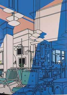 These are another two images. One is by Patrick Caulfield and the other one is by Michael Craig-Martin. As you can see these two images hav. Michael Craig, Minimal Art, Ligne Claire, A Level Art, Arte Popular, Architectural Features, Gcse Art, Built Environment, Environmental Art