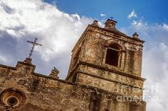 Mission Concepcion Tower - photograph by Joan Carroll joan-carroll.artistwebsites.com #missionconcepcion #architecturephotography #texas