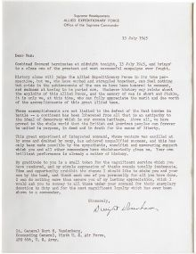 """Autographs:U.S. Presidents, Dwight D. Eisenhower Typed Letter Signed """"Dwight D.Eisenhower"""" as Supreme Commander, July 13, 1945, one page, 7.5""""x 9...."""