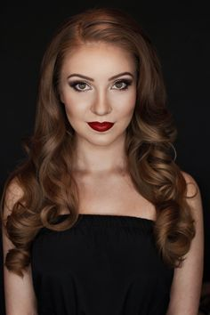 Dramatic engagement makeup. Red lips, smokey eye, hair down and curled. Makeup by Vivian Makeup Artist.