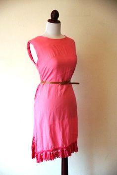 Vintage 1960s Tropical Pink Dress with Boho by RetroKittenVintage, $55.00