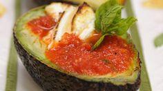 warm avocado with pepper-tomato sauce and mozzarella (in Finnish)