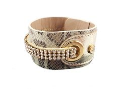 Classical and trendy snake pattern Cango & Rinaldi leather bracelet with golden Swarovski crystals.