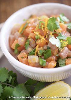 Recette bio : Tartare bio de saumon et thon à la coriandre, aux agrumes et huile bio au gingembre La Cuisine d'Emile