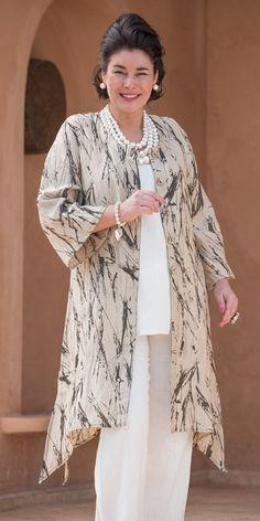 Kasbah sand/black linen printed coat, vest and trouser