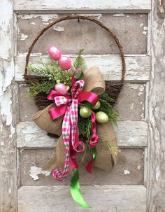 double door wreaths Easter Basket Door Wreath Egg Wreath Easter Wreath by Keleas Double Door Wreaths, Spring Door Wreaths, Easter Wreaths, Summer Wreath, Christmas Wreaths, April Easter, Easter Crafts, Easter Decor, Easter Baskets
