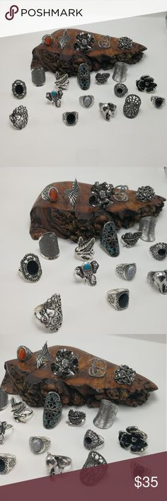 Bundle lot 20 silver Turquoise amber black goth HUGE Bundle 20 Vintage Antiqued Tibet silver rings. Mixed Metals. lead & Nickel free. You will receive ALL the items shown. NOT sold individually. Not sold in a smaller bundle size. NO exceptions. No holds. Price is firm. Display is NFS. Bundle to SAVE. Great for Resale! Size:8/9 RB#64 Urban Outfitters Jewelry Rings