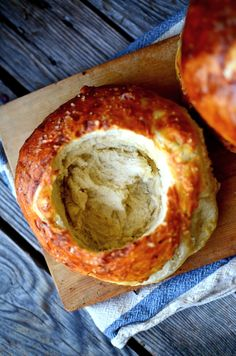 Pretzel Bread Bowls. Seriously impressed with how EASY and perfect these were. MAKE THEM NOW!