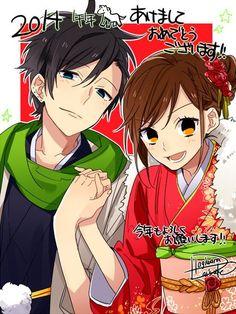 Hagiwara-sensei's first picture of the year. Look at these two! Oh my god I ship it so hardddd! From Horimiya. Original work Hori-san to Miyamura-kun. Manga Anime, Me Anime, I Love Anime, Manga Art, Yandere, Vocaloid, Horimiya, Natsume Yuujinchou, Manga Couple