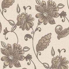 Graham Brown Superfresco Cream Plum Floral Wallpaper Peace - Brown and cream wallpaper