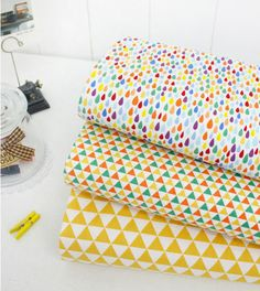 * This listing is for 1 yard of one color. Please make your selection during checkout: Rainbow Raindrop, Yellow Triangles or Multi-color Triangles  *