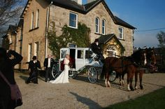 Bride leaving Ardmore Country House for wedding in Kinnitty Castle Hotel