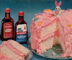 pink frosting vanilla cake 1951
