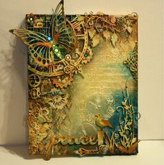 """Mixed Media Canvas Tutorial """"Peace"""" by Gabrielle Pollacco using Dusty Attic Chipboard and Shimmerz Paints"""