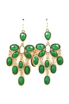 Kelly Green Chandelier Earrings.
