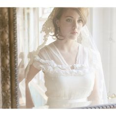 Impossibly romantic. Lace Bridal Cap Mantilla Alencon Lace Veil 730. $590.00 USD.
