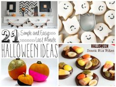 A round-up of 21 Simple and Easy Last Minute Halloween Ideas, including decorations, sweet treats, and no carve pumpkins!