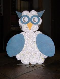 Owl Baby Shower Diaper Cake - Cute!