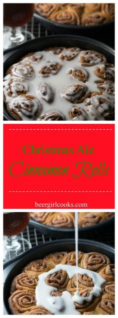 Christmas Ale Beer Cinnamon Rolls are a fun treat made from Christmas Ale full of cinnamon, nutmeg, cloves, and honey and a very vanilla bourbon finish | Beer Girl Cooks