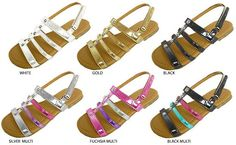 Girls Metallic Sandals with Stud Embellishments Case Pack 36