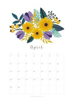 Printable April 2018 Calendar Monthly Planner – Flower Design