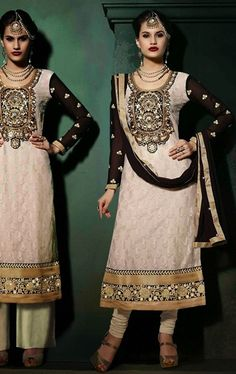 Picture of Delightful Off White and Black Color Salwar Suit