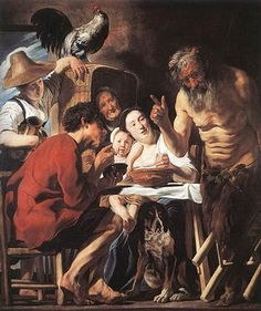 Jacob Jordaens (1593-1678) Flemish Baroque Painter / Satyr and Peasants