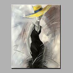 【今だけ 送料無料】現代アートなモダン キャンバスアート 絵 アートパネル 人物画1枚で1セット 帽子 黄色 美女 黒いドレス【納期】お取り寄せ2~3週間前後で発送予定