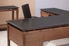 L shaped Executive Desk, with Attached Return & Console in Walnut with a Honed Black Granite top.