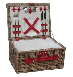 NEW Retro Red Leather 2 Person Fitted Wicker Picnic Hamper Basket Vintage Picnic Basket, Wicker Picnic Basket, Picnic Hampers, Hamper Basket, Stainless Steel Cutlery, Home Living, Storage Baskets, Outdoor Dining, Red Leather
