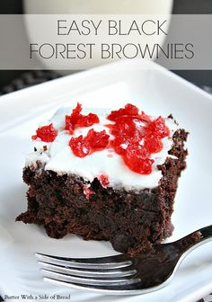 Easy Black Forest Brownies #recipe #brownies #dessert from Butter With A Side of Bread
