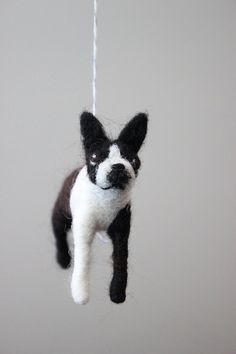 Custom Boston Terrier Pet Dog Needle Felted Nursery by MerleyBird