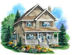 Country Style House Plans - 1722 Square Foot Home , 2 Story, 3 Bedroom and 2 Bath, Garage Stalls by Monster House Plans - Plan 40-399
