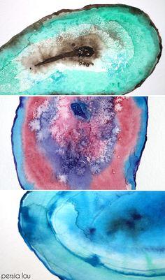 DIY Watercolor Agate Slices