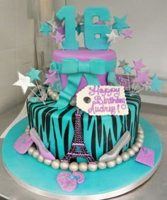 Blue, purple, silver Sweet 16! The cake blizzard is going to get by Carlos bakery but sweet creations is going to make it