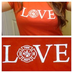 "FirefighterWife.com Online Store - ""LOVE"" Fitted T-shirt with Maltese Cross, $23.00 (http://firefighterwife.mybigcommerce.com/love-fitted-t-shirt-with-maltese-cross/) ~ Re-Pinned by Crossed Irons Fitness"