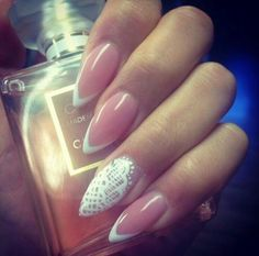 Pink and French tip almond/stiletto nails