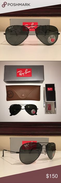 Ray-Ban Original Aviator Polarized Black NWT polarized Ray-Ban aviators. Black frames and lenses. 55mm. Brand new, never worn before. I got these as a gift and couldn't return them. Ray-Ban Accessories Sunglasses